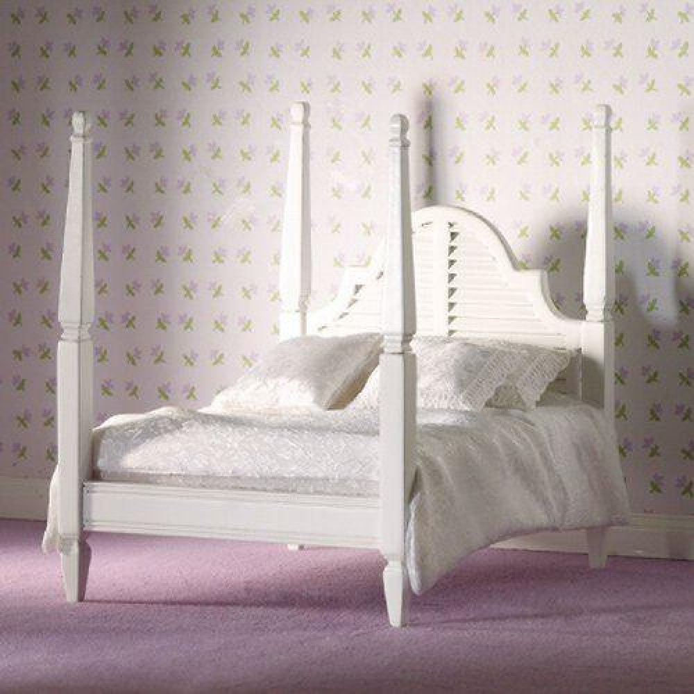 The dolls house emporium white four poster double bed for 4 poster white bed