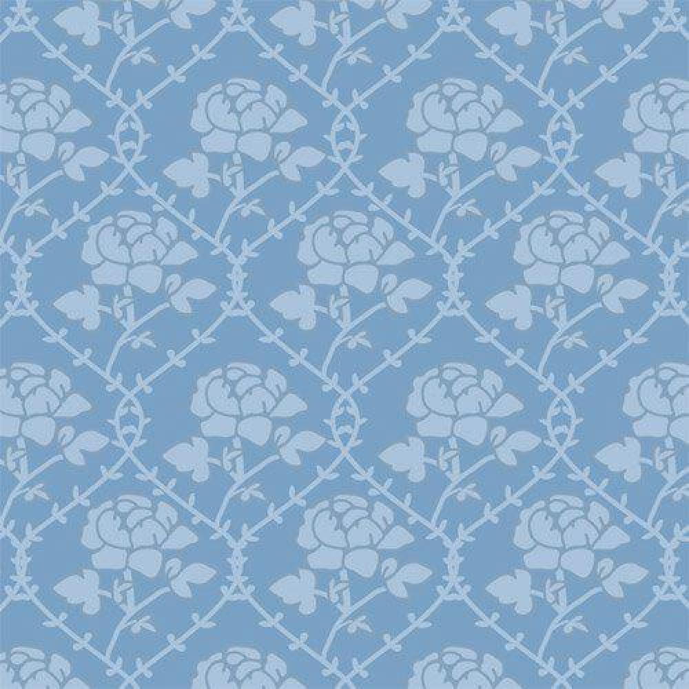 The Dolls House Emporium Blue Rose Pattern Wallpaper