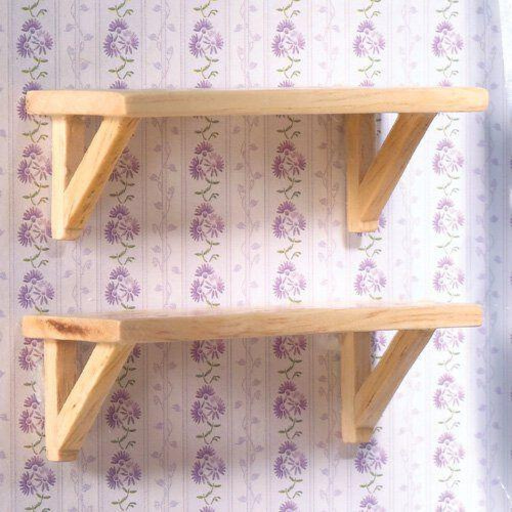 The Dolls House Emporium Two Small Pine Wall Shelves