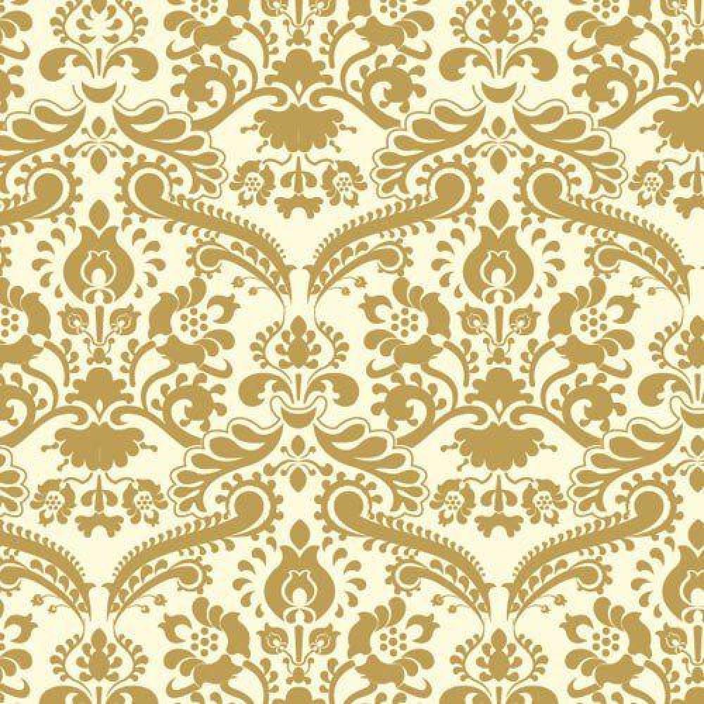 The dolls house emporium gold damask wallpaper for Gold wallpaper for home