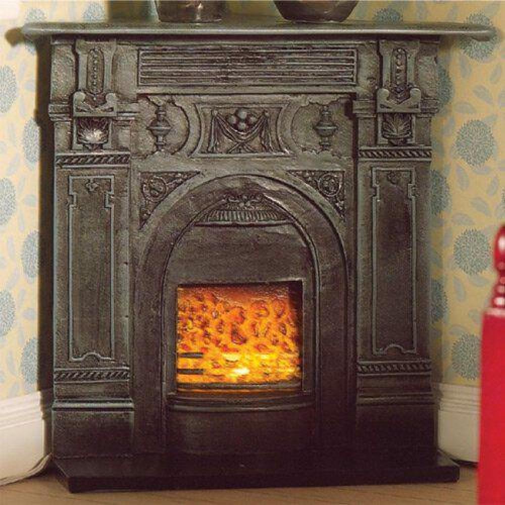 The dolls house emporium black corner fireplace for Victorian corner fireplace