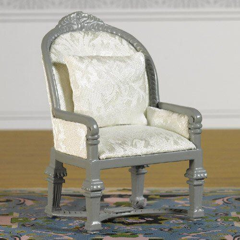 Armchair Upholstered In Fine Damask.