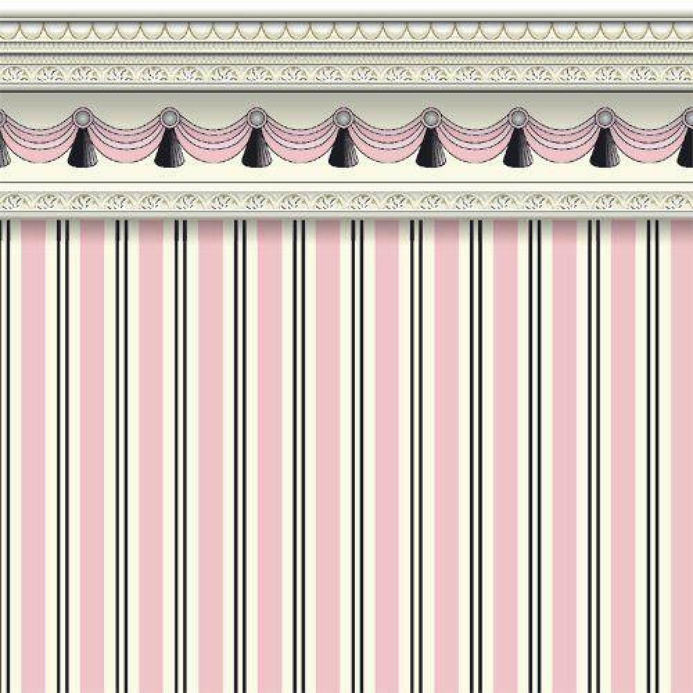 The Dolls House Emporium Pink Regency Stripe Wallpaper