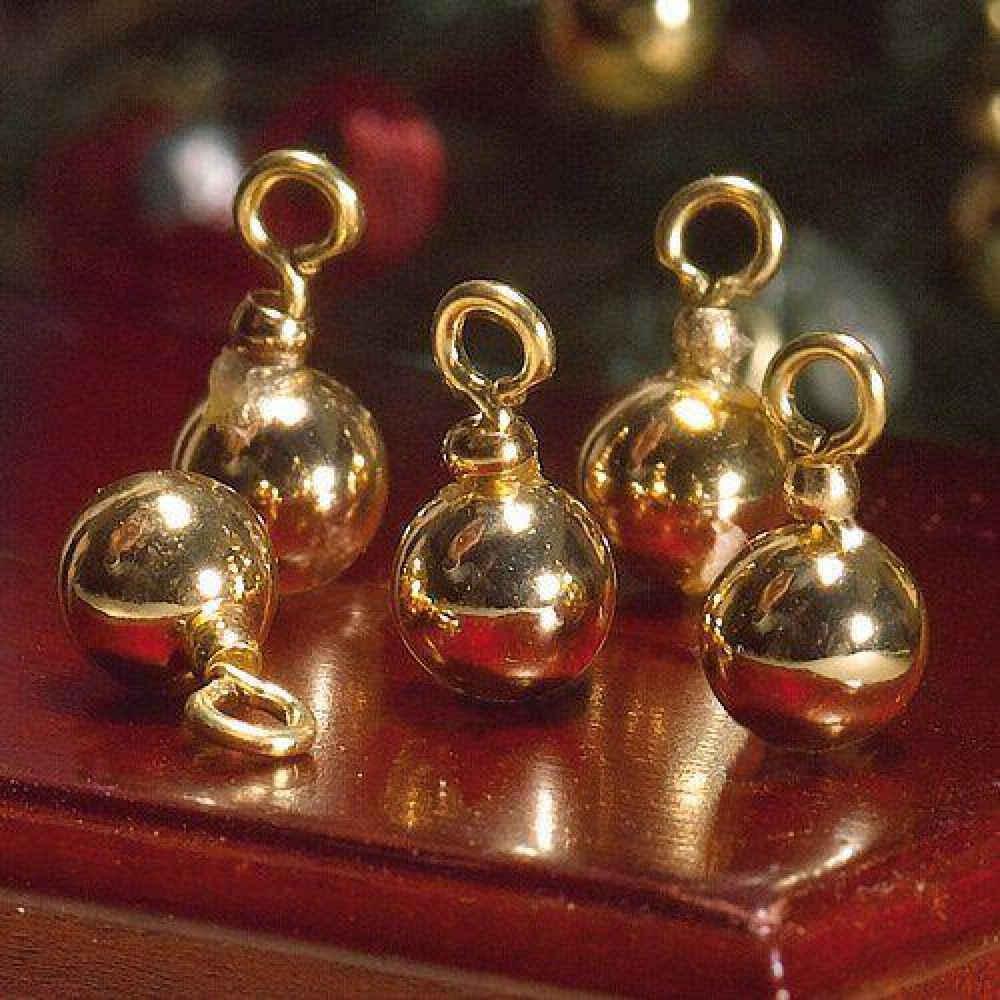 the dolls house emporium gold christmas tree baubles 5 pcs. Black Bedroom Furniture Sets. Home Design Ideas