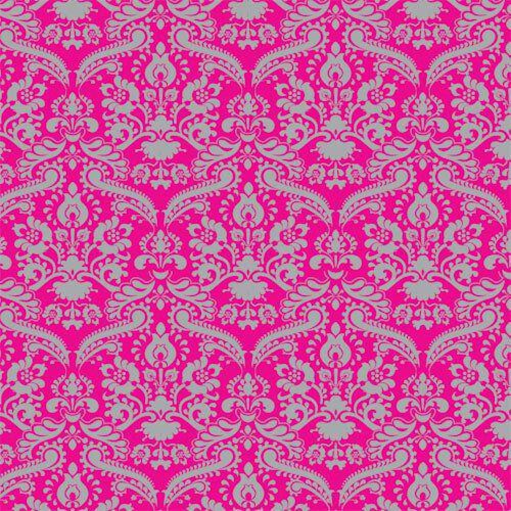 The Dolls House Emporium Bright Pink Silver Damask Wallpaper