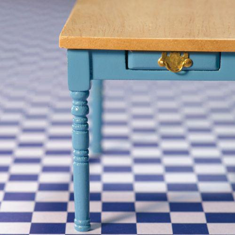 The Dolls House Emporium Blue Kitchen Table with Pine Top