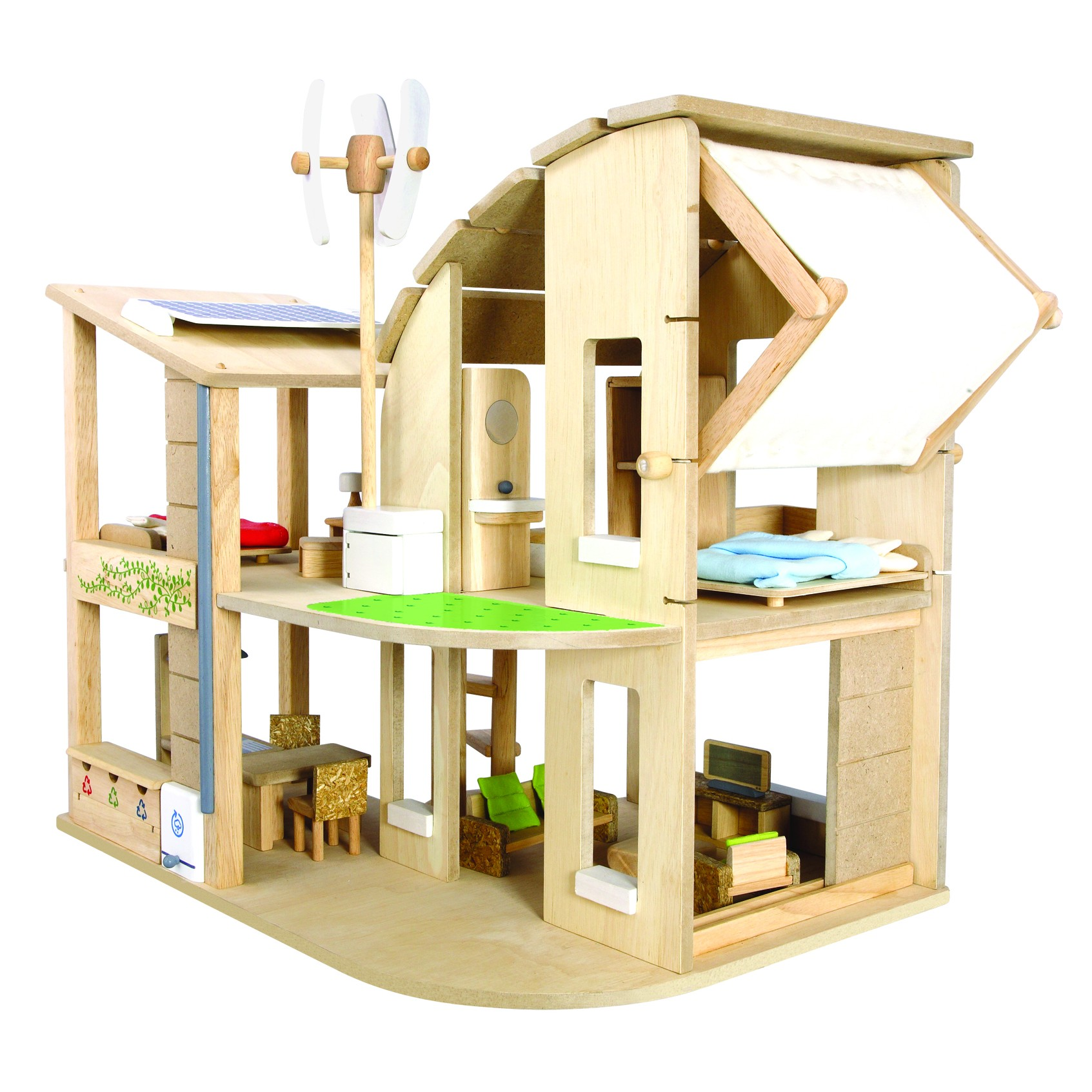 plan toys green dolls 39 house with furniture. Black Bedroom Furniture Sets. Home Design Ideas