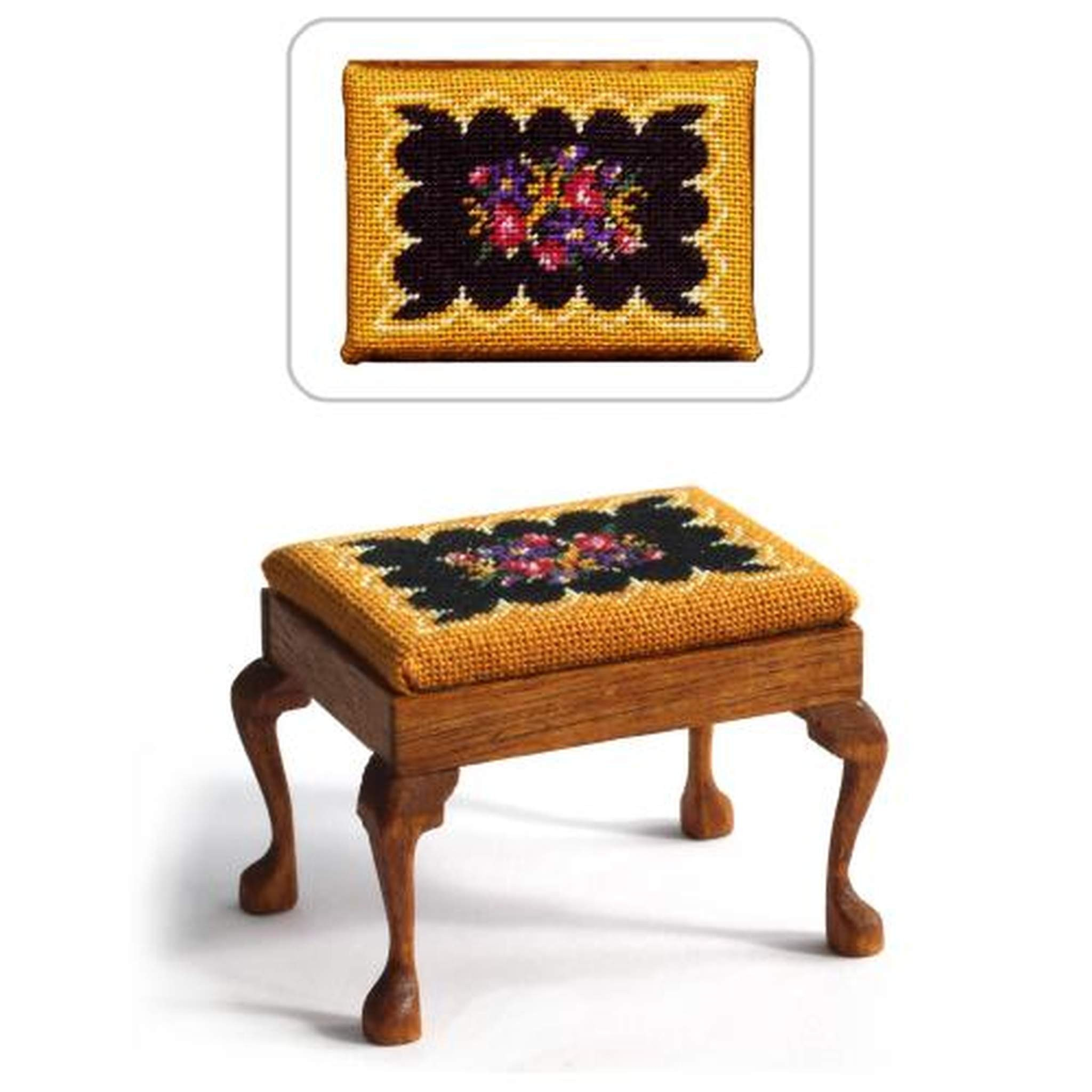 Janet granger designs berlin woolwork dolls house needlepoint rectangular stool kit