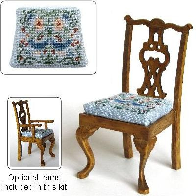 Janet Granger Designs Strawberry Thief Dollsu0027 House Needlepoint Dining  Chair Kit