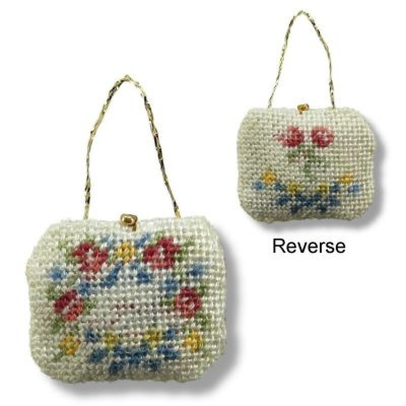 Janet Granger Designs Delicate Flowers Dolls House Needlepoint Handbag Kit