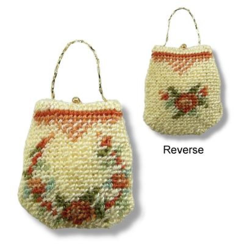 Janet Granger Designs Rose Reticule Flowers Dolls House Needlepoint Handbag Kit