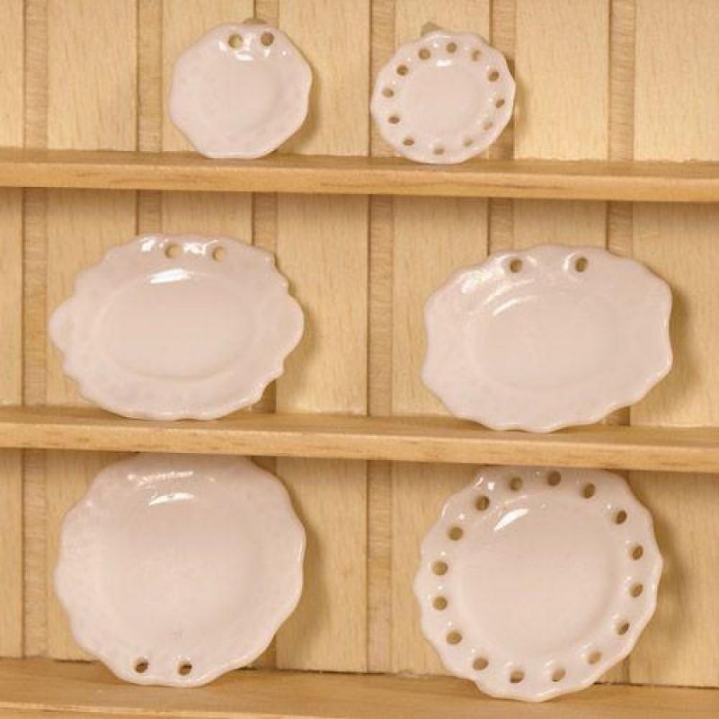 Pretty White Plates, 6pcs