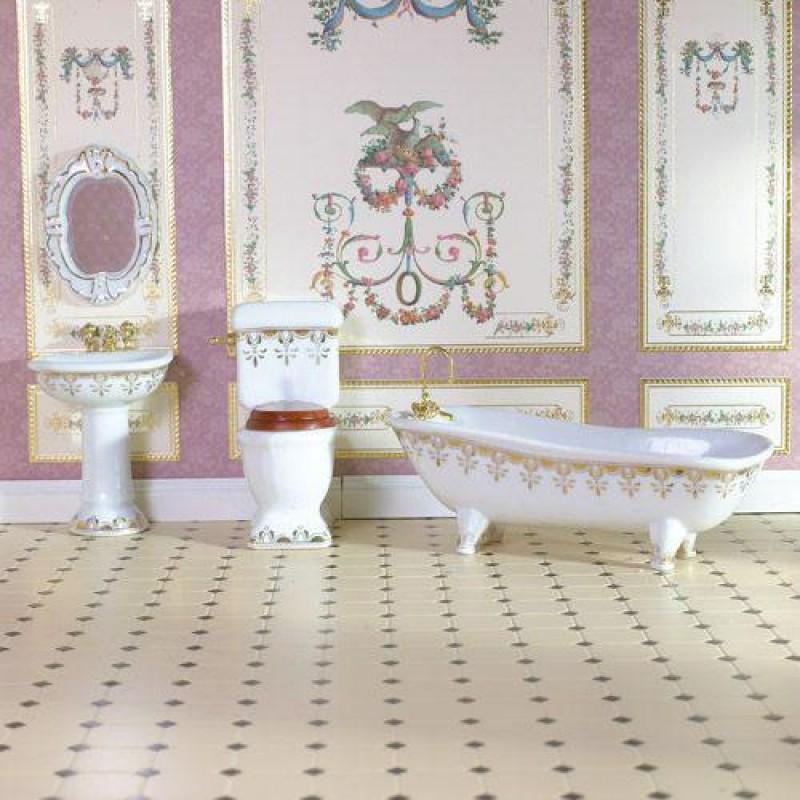 Gold Fleur Bathroom Suite, 4pcs