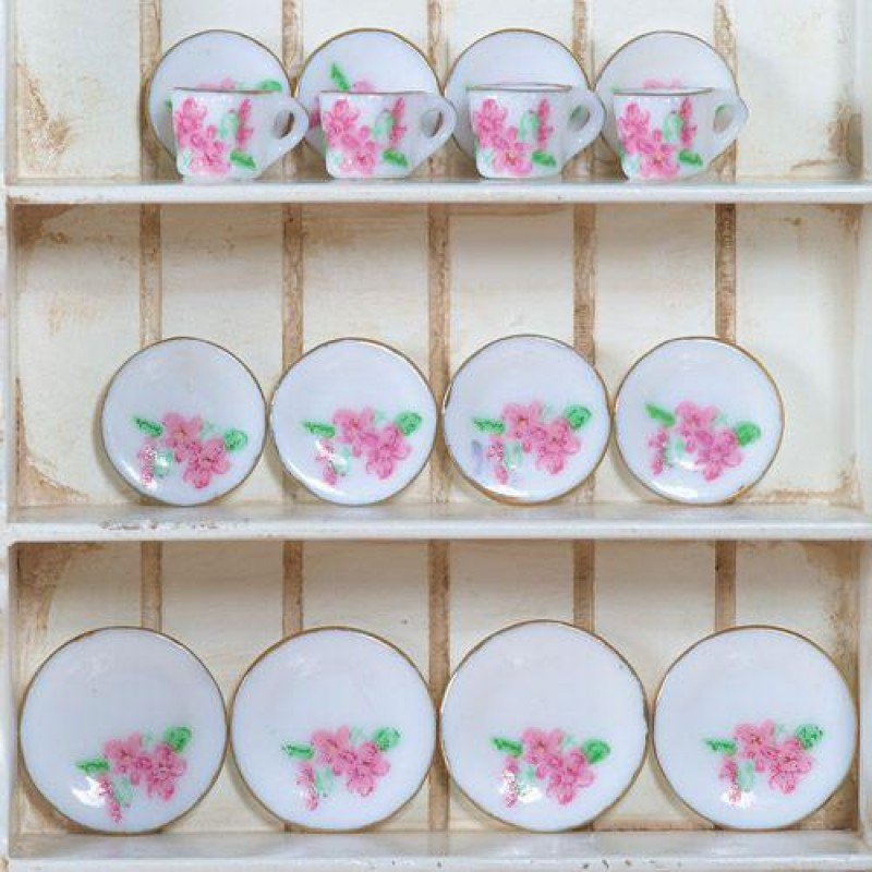 Pink Floral Tea Set, 16pcs