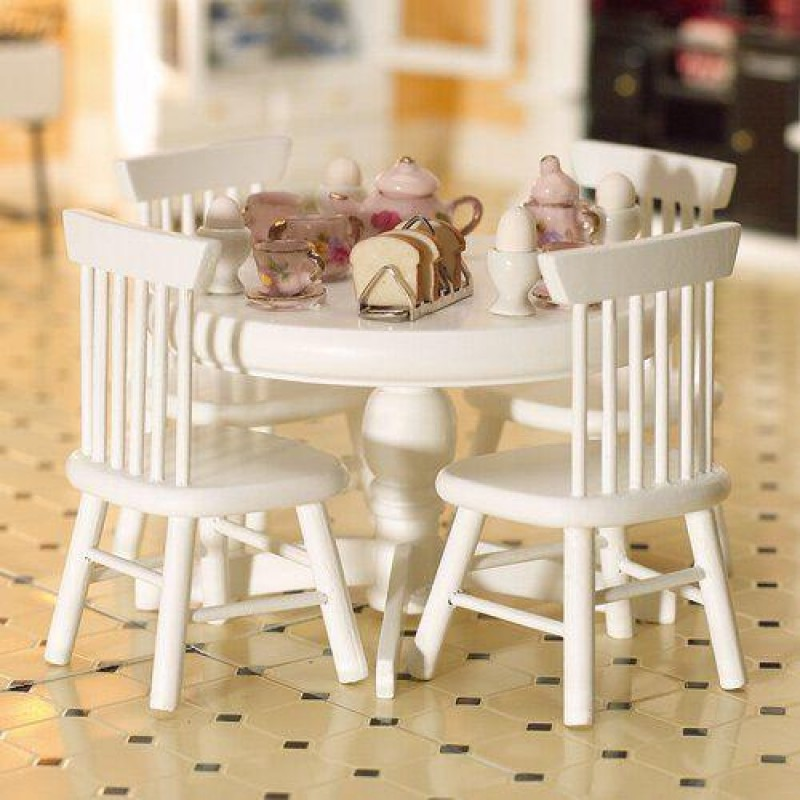 White Circular Table & Four Chairs