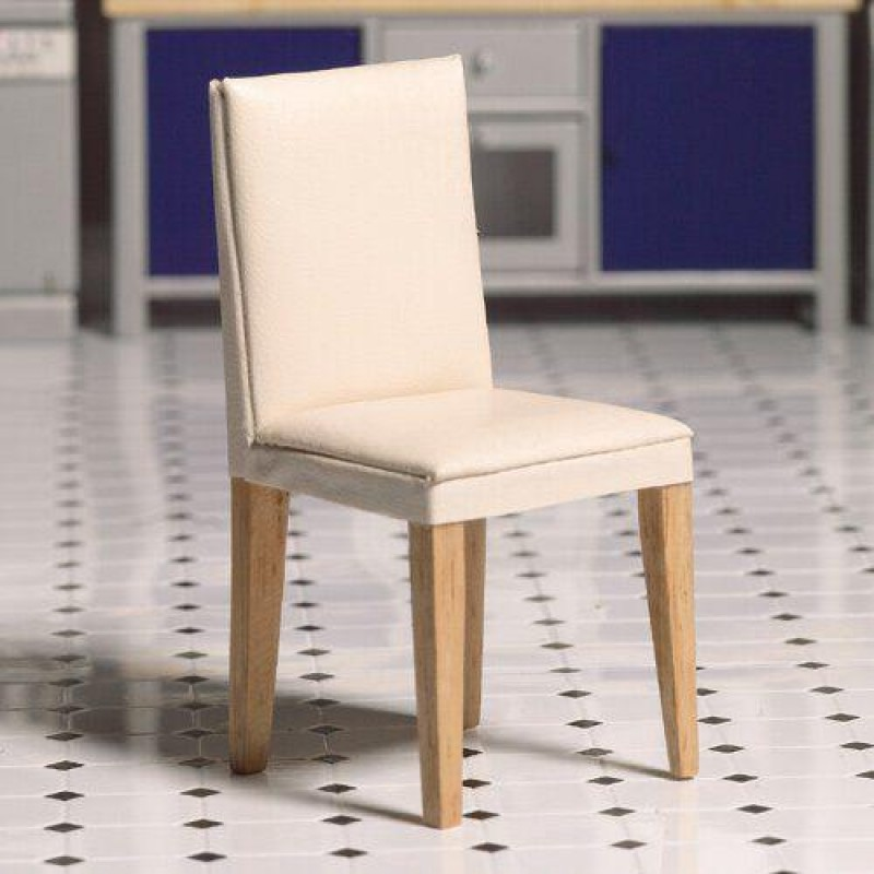 Cream Leather Dining Chair