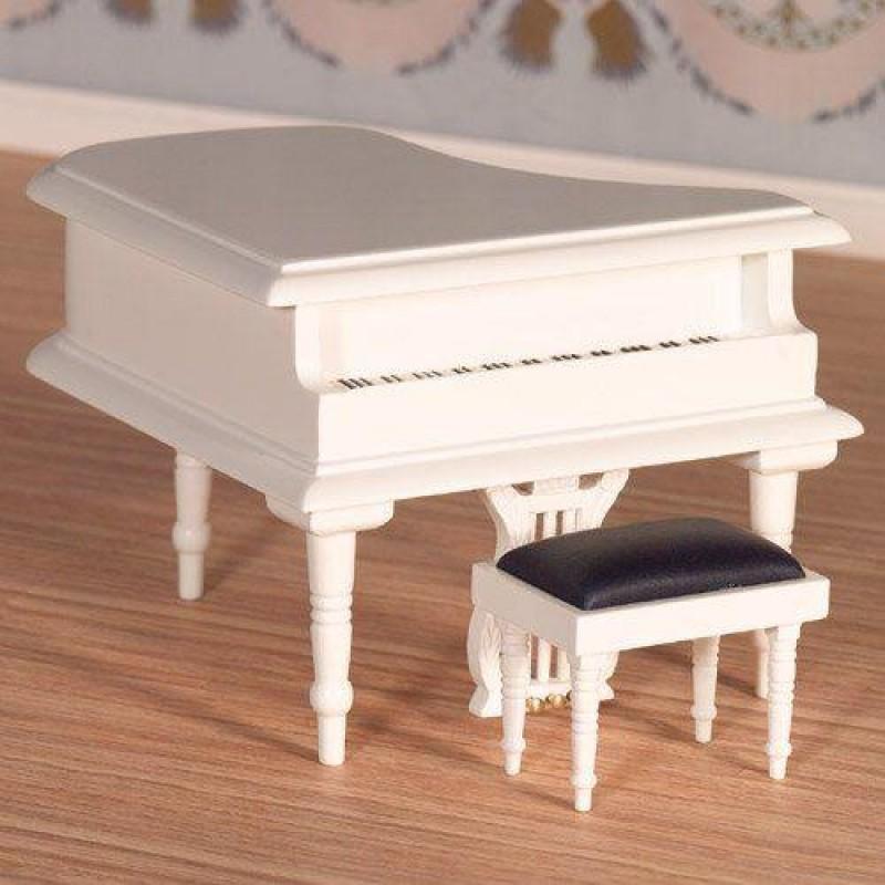 Classical White Grand Piano & Stool