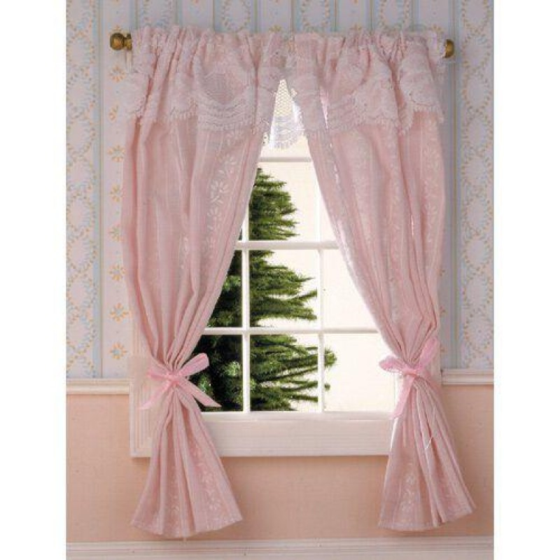 Pale Pink Curtains on Rail 180 x 120mm