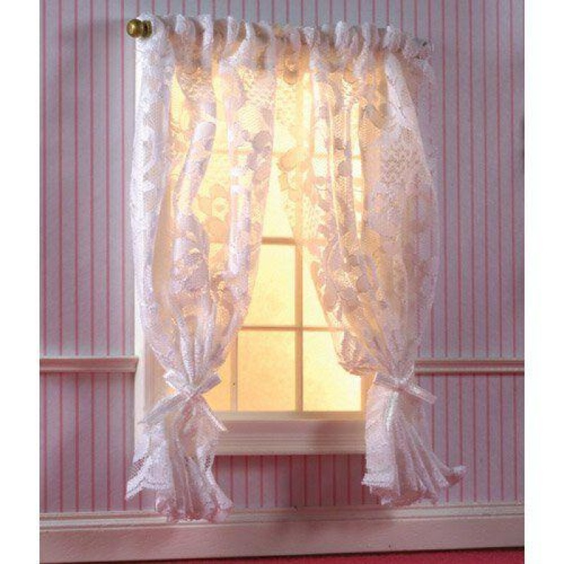 Off-White Lace Curtains on Rail 160 x 120mm