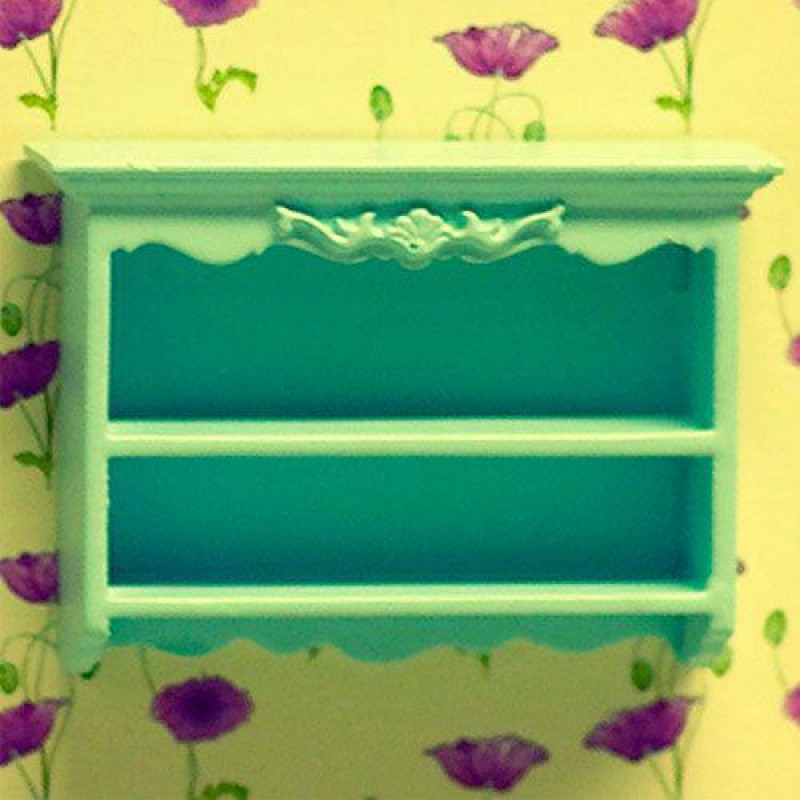 Blue Shelves with Carving