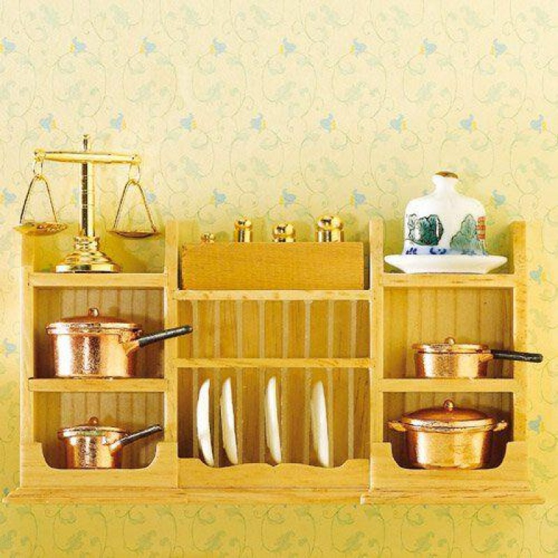 Wall Shelf with Plate Rack (L)
