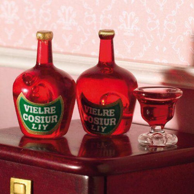 Liqueur Bottles, 2 pcs