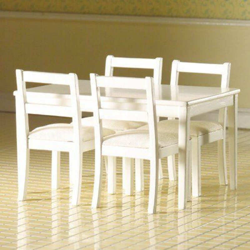 White Table & Four Chairs