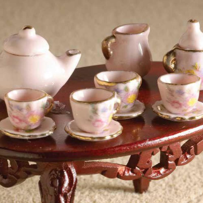 Pink Rose Pattern Tea Set, 13 pcs