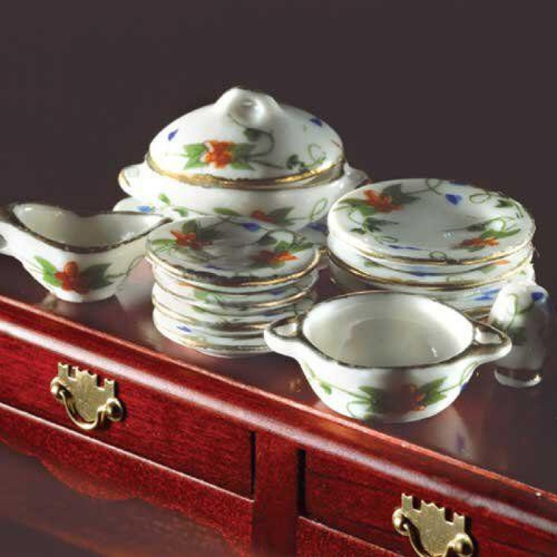 Dining Set, Red Floral Design, 15 pcs