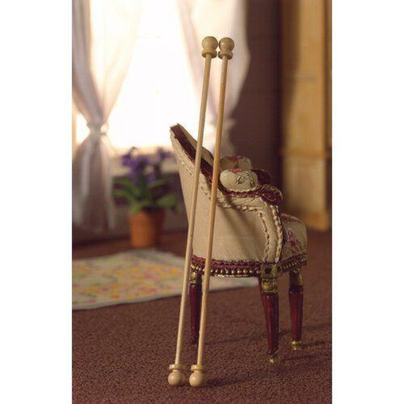 Two Natural Curtain Poles, length 130mm