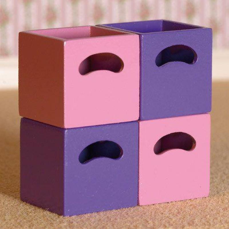 Rose & Lilac Storage Boxes, 4 pcs