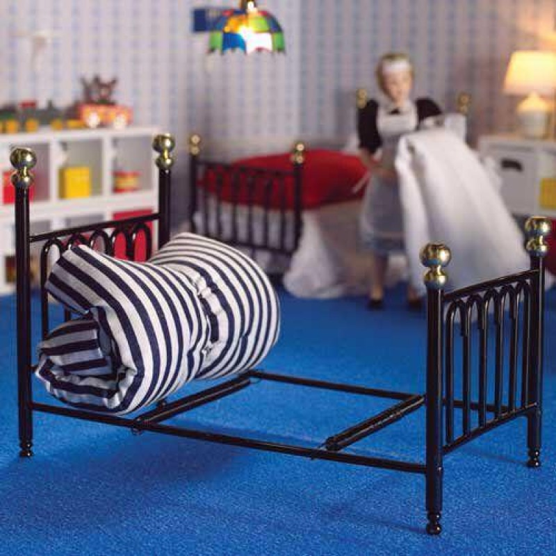 Black Cast Iron Single Bed & Covers