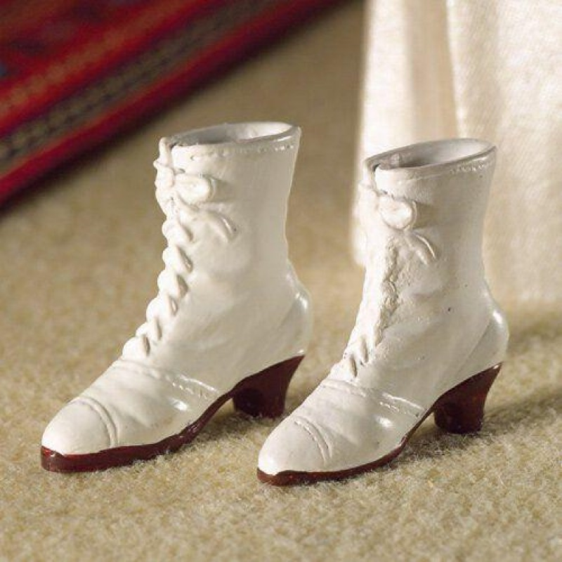 White Lace-up Boots