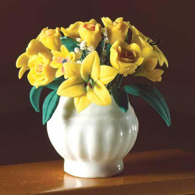 Yellow Flowers in White Vase