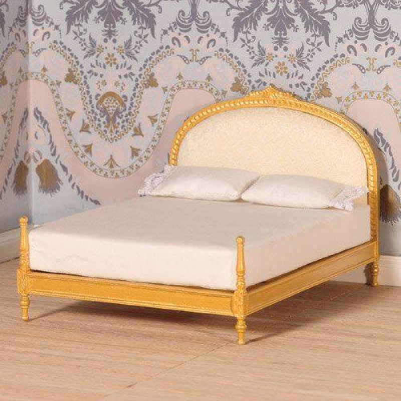 Gold Upholstered Double Bed