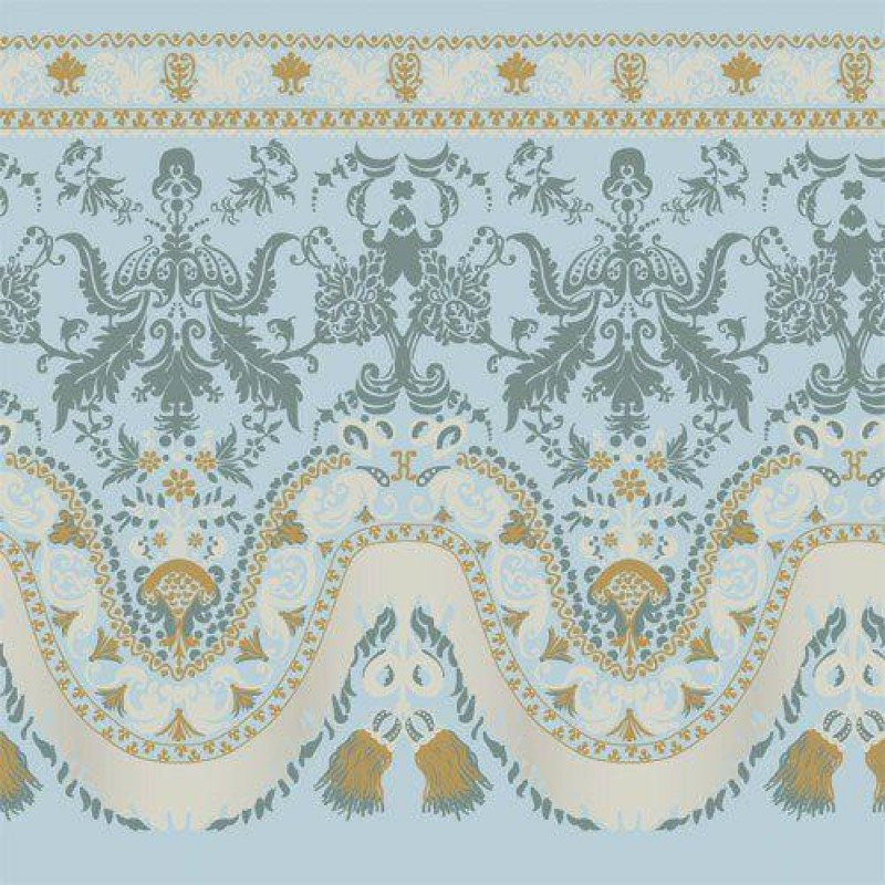 Blue Silk-style Wallpaper 430 x 600mm
