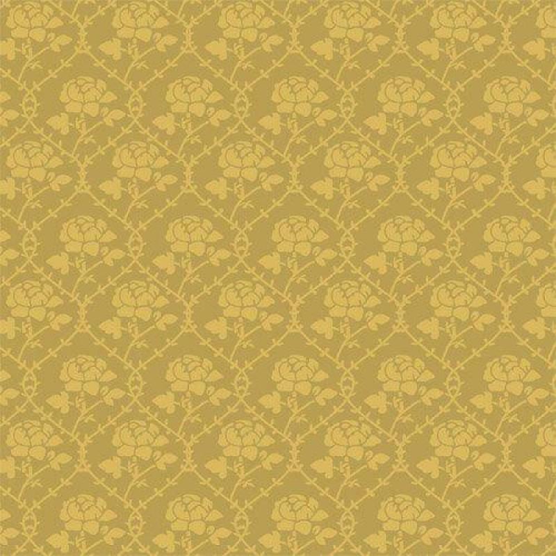 Mustard Rose Pattern Wallpaper 430 x 600mm