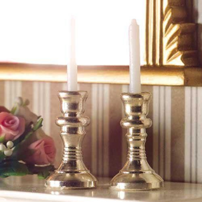 Two Silver Candlesticks & Candles