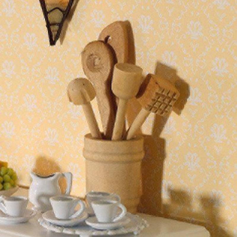 Wooden Kitchen Utensils in Pot, 6 pcs