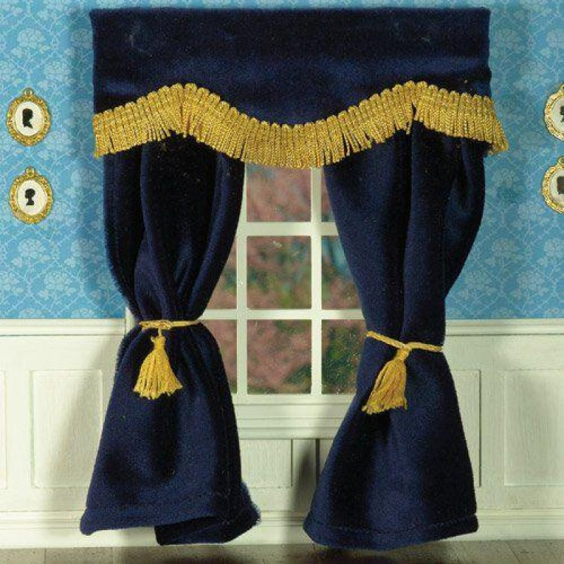 Navy Blue Velvet Curtains 182 x 137mm