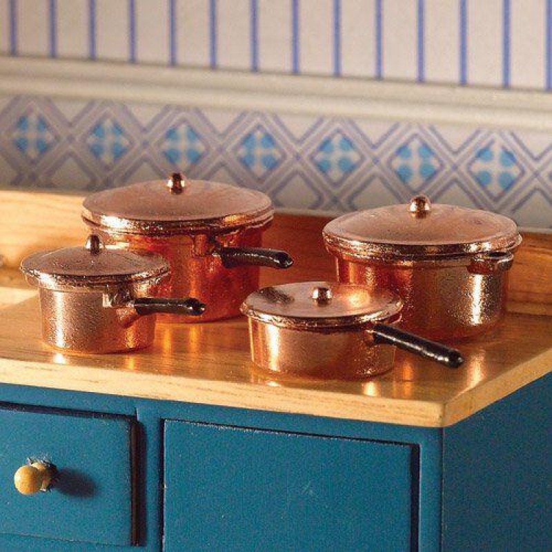 Copper Saucepans & Casserole, 8 pcs