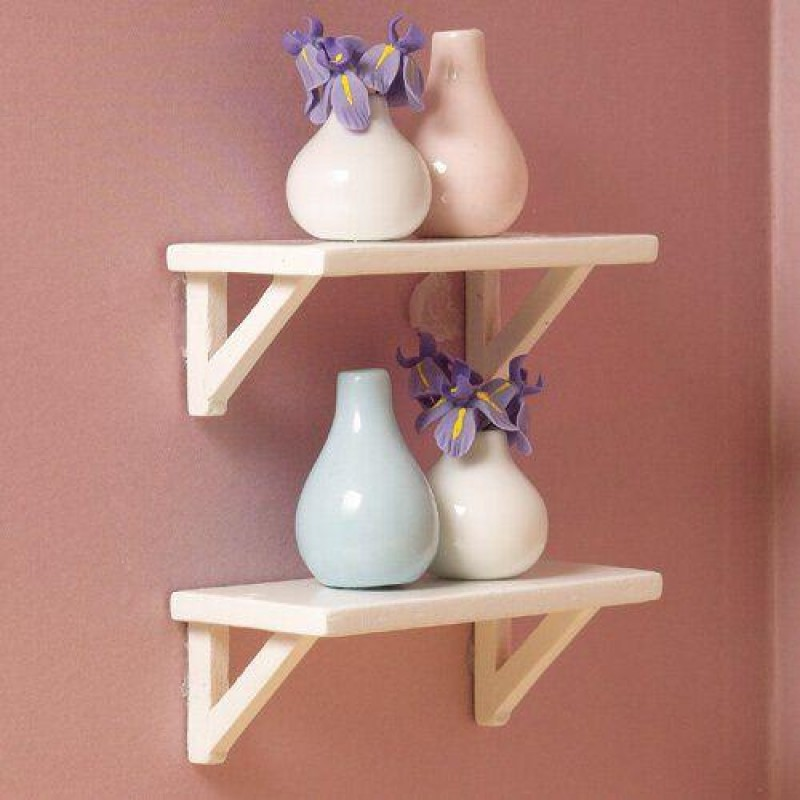 Small White Wall Shelves, 2 pcs