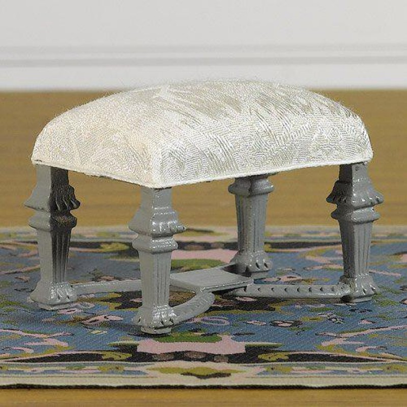 Foot Stool Upholstered in Fine Damask