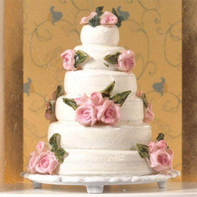 Decorative Wedding Cake with Pink Roses