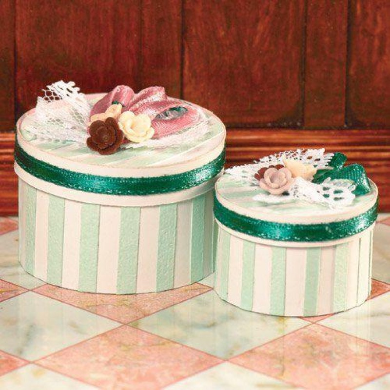 Luxury Green Striped Hat Boxes, 2 pcs