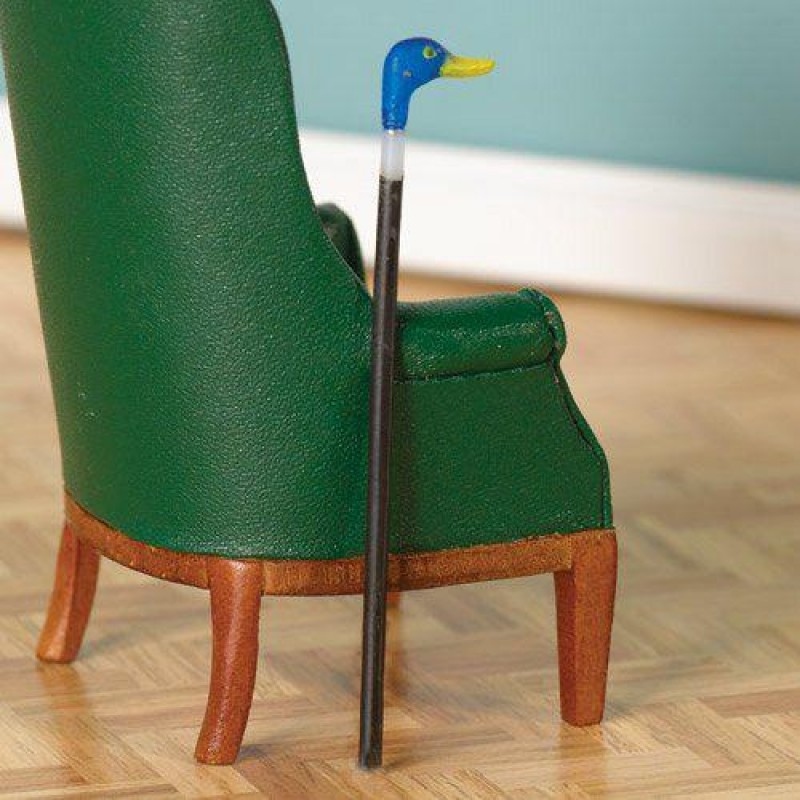Blue Duck-Handled Walking Cane