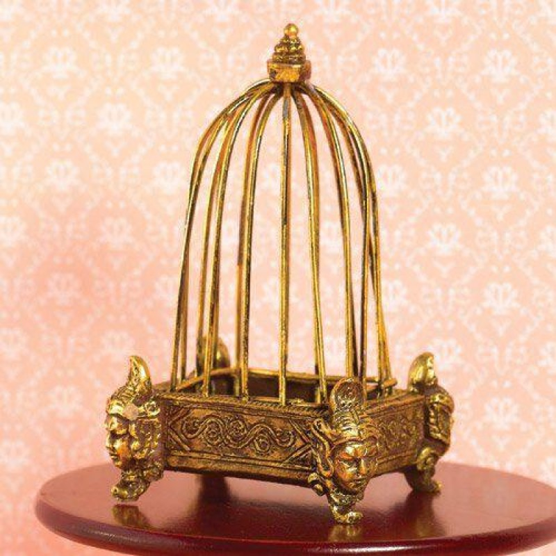 Golden Birdcage with Decorative Base (PR & Wire) 90mm