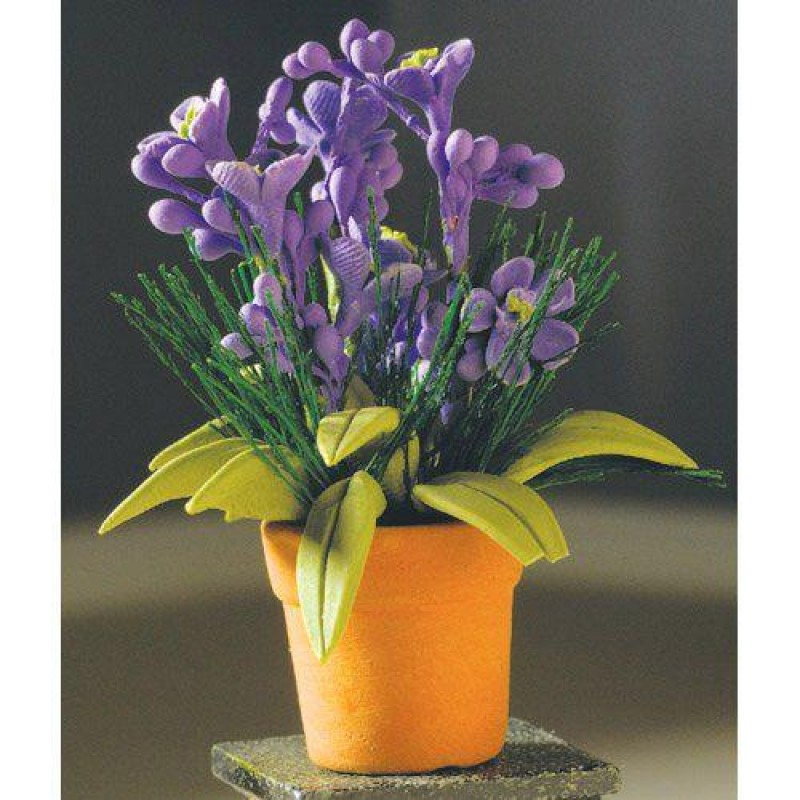 Lilac Potted Plant with Greenery.