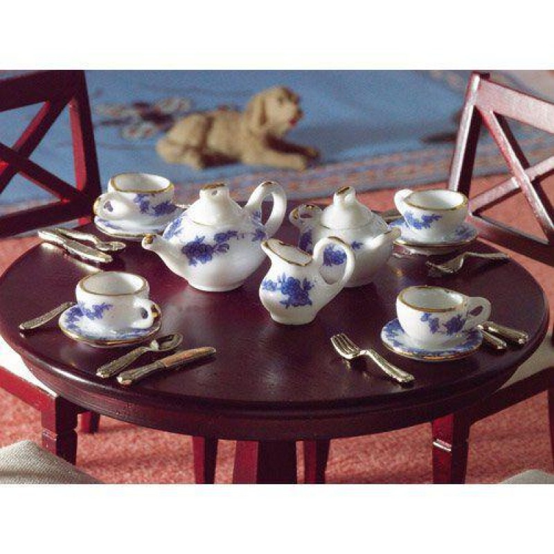 Blue & White Tea Set, 13 pcs