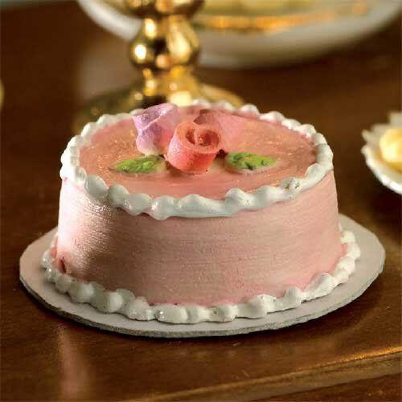 Pink & White Cake with Roses
